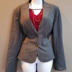 Kate Hill Double Button Gray Blazer Size 14